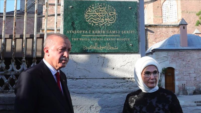 Presiden Turki Luncurkan Papan Nama di Gerbang Utama Hagia Sophia
