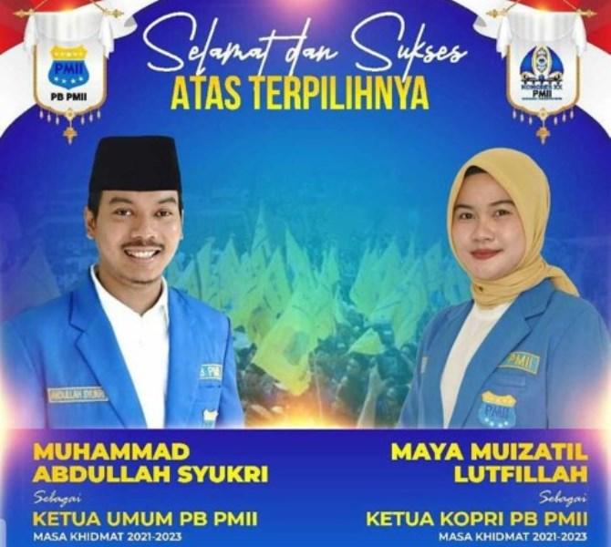 Muhammad Abdullah Syukri dan Maya Muizzatil Lutfillah Nakhodai PB PMII dan PB KOPRI 2021-202